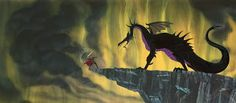 """Animation Collection: Original Production Animation Cel of Maleficent As The Dragon and Prince Phillip From """"Sleeping Beauty,"""" 1959"""