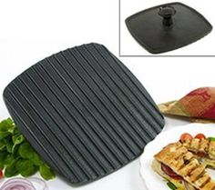 """Norpro Grill/Panini Press - 8½"""" by Norpro. $23.00. Sold individually. Make perfect Italian panini sandwiches and tuna melts with this ribbed grill press. The press h.... Colour/Pattern: Black. Dimensions: 8½""""L × 8¼""""W. Size: 8½ × 8½. Make perfect Italian panini sandwiches and tuna melts with this ribbed grill press. The press heats quickly and cuts cooking time in half by grilling both sides at once, so you avoid flipping sandwiches, steaks, burgers, and chic..."""