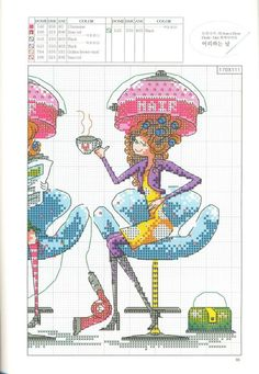 point de croix 3 copines chez le coiffeur - cross stitch 3 girls friends at the hairdresser part 2