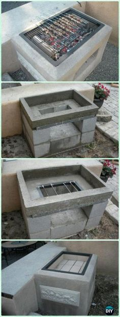 DIY Open Concrete Grill Instruction - DIY Backyard Grill Projects Relaxing Outdoor Kitchen Ideas for Happy Cooking & Lively Party Outdoor Kitchen Countertops, Diy Outdoor Kitchen, Backyard Kitchen, Backyard Bbq, Concrete Backyard, Diy Outdoor Pizza Oven, Outdoor Grill Area, Outdoor Grill Station, Kitchen Grill