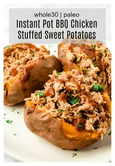 Instant Pot BBQ Chicken Stuffed Sweet Potatoes Paleo) - a delicious and simple meal the whole family will love! Made simple in the Instant Pot, these BBQ Chicken Stuffed Sweet Potatoes are Paleo, and gluten free. Paleo Casserole Recipes, Paleo Crockpot Recipes, Paleo Chicken Recipes, Healthy Recipes, Cooker Recipes, Paleo Meal Prep, Paleo Dinner, Paleo Whole 30, Whole 30 Recipes