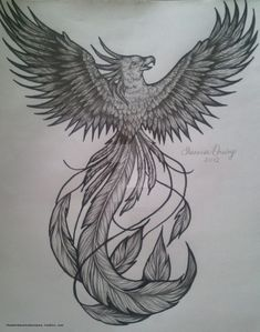 This is custom drawn, phoenix bird tattoo flash. It is for sale, please note me if interested. Do not use without my permission.