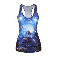 Galaxy Print Scoop Neck Tank Top ($12) ❤ liked on Polyvore featuring tops, shirts, tank tops, blue, t-shirts, galaxy shirt, cosmic shirt, cami tank, cami tank tops et cami shirt