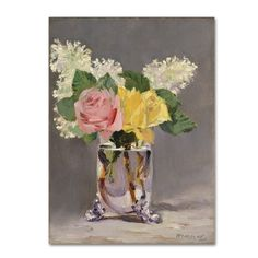 Edouard Manet 'Lilacs and Roses' Canvas Art