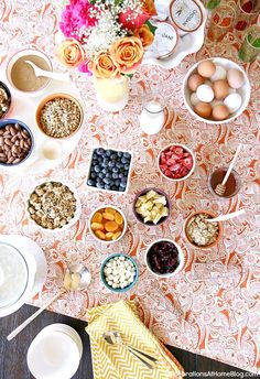 Set up a hot cereal breakfast bar with all the fixins' for an easy weekend entertaining brunch. Lots of ideas and tips here.