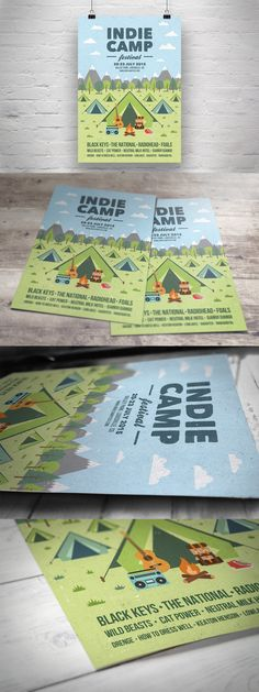 Indie Camp Festival Flyer / Poster Template AI, EPS, PSD
