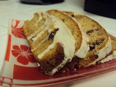 Homemade chocolate chip pumpkin bread with a buttercream glaze.