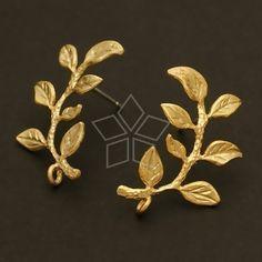 SI347MG / 2 Pcs  Laurel Earring Findings Matte Gold by beadsmaker, $3.60