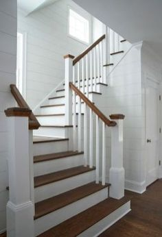Awesome Modern Farmhouse Staircase Decor Ideas – Decorating Ideas - Home Decor Ideas and Tips Staircase Remodel, Staircase Railings, Wood Stairs, Staircase Design, Stairways, Staircase Ideas, Bannister, Stair Design, Spiral Staircases