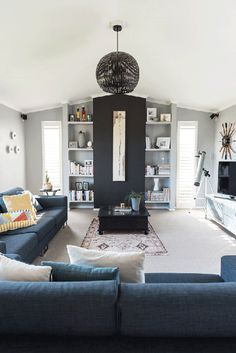 Jessica chose Resene Silver Chalice for the walls to cosy up the family room, with a feature wall in Resene Bokara Grey.