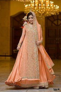 peach bridal gown- would love to wear this for engagement/dholki type event iA. someday soon!!