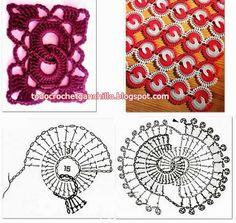 Patrones Crochet: love this design :) Crochet Stitches Chart, Crochet Motifs, Crochet Squares, Crochet Doilies, Crochet Flowers, Stitch Patterns, Knitting Patterns, Crochet Patterns, Crochet Hooks