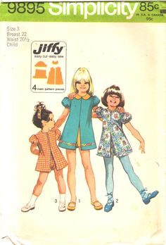 Simplicity 98951970s Girls Jiffy Dress and Pull Up by mbchills