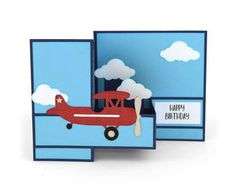 Silhouette Design Store - View Design pop up box card airplane Birthday Cards, Happy Birthday, Pop Up Box Cards, Travel Cards, Silhouette Design, Silhouette Cameo, Masculine Cards, Folded Cards, Kids Cards