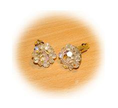 Formal Crystal Clip on Earrings  Stamped Lisner  by bettysworld4u