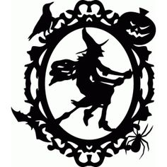 Silhouette Design Store - View Design #66020: halloween witch ornate oval frame