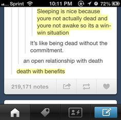 Death with benefits.