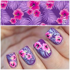 Top 14 Hibiscus Summer Nail Designs – New Cute & Simple Home Manicure Style - Easy Idea Tropical Nail Art Fancy Nails, Diy Nails, Cute Nails, Pretty Nails, Nail Art Designs, Nails Design, Tropical Nail Art, Hibiscus Nail Art, Feather Nail Art