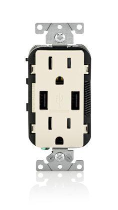 Leviton T5632-W 15-Amp USB Charger/Tamper Resistant Duplex Receptacle, White - - Amazon.com