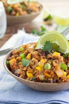 Slow Cooker Cheesy Enchilada Quinoa   Chelsea's Messy Apron
