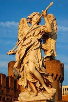 One of Bernini's angels at ponte (bridge) sant'angelo. He was very old at the time of their construction, and his assistants did most of the work, but he designed all of these angels. This one was by Massimo Faccioli Pintozzi.