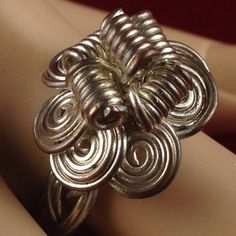 Vintage Wire Wrapped Braided Flower Silver Tone Ring JMVS072 |We combine shipping|No Question Refunds|Bid $60 for free shipping. Starting at $1