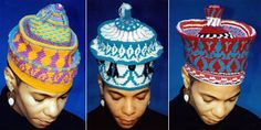 African Crochet Hats | Wanda models hats that she tapestry crocheted in the 1980′s.