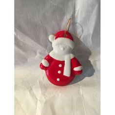 23f0961ecf Petit Bonhomme de neige Suspension de Noël porcelaine blanc et rouge
