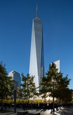 """Skidmore, Owings & Merrill's One World Trade Centre in NYC The centre, which took over eight years to build, occupies the site adjacent to the 9/11 Memorial and the museum designed by architects Snøhetta, which completed in May. """"While the memorial, speaks of the past & of remembrance, One World Trade Center speaks about the future,"""" said architects. """"[It] recaptures the NY skyline, reasserts downtown Manhattan's preeminence as a business centre, & establishes a new civic icon for the…"""