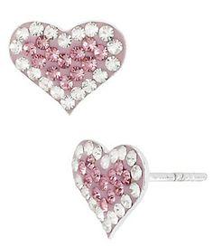 Betsey Johnson Pink Pavé Heart Stud Earrings