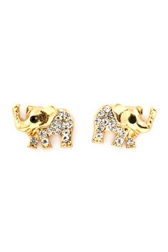 Gold Crystal Elephant Earrings | Emma Stine Jewelry Earrings