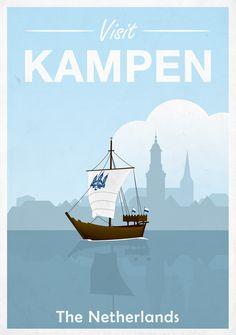 Kampen, Retro, Poster, Netherlands, Kogge, Ship, Schip