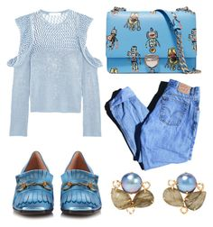 """""""Quirky in blue"""" by elisenotelsie ❤ liked on Polyvore featuring Levi's, Philosophy di Lorenzo Serafini, Prada, Bounkit and Gucci"""