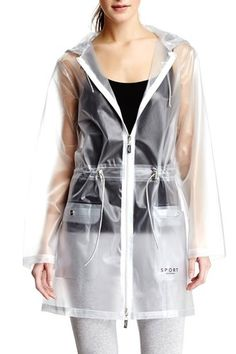 White Anorak Rain Jacket by Isaac Mizrahi Clear Raincoat, Red Raincoat, Vinyl Raincoat, Raincoat Outfit, Anorak Jacket, Rain Jacket, Rainy Day Fashion, Ex Machina, Raincoats For Women