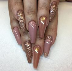 73 Best Stunning Long Coffin Nails Design 💅 You May Try for Prom and Wedding 😘 - Page 50 Cute Acrylic Nail Designs, Cute Acrylic Nails, Glue On Nails, Beautiful Nail Designs, Nail Art Designs, Nails Design, Glitter Nails, Glam Nails, Dope Nails