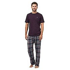 Mantaray - Purple t-shirt and checked bottoms loungewear set