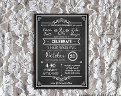 Download and customize this DIY chalkboard wedding invitation, and print as many copies as you need! Perfect for a rustic wedding. ahandcraftedwedding.com