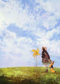 눈에 보이진 않지만 조금만 시선을 달리하면 느껴지는 것들이 있어요.  마치 바람개비가 도는 것을 보고 바람을 느끼는 것처럼요.  Sometimes we can feel the unseen when we change our point of view. Just like feeling the presence of wind as the pinwheel spins.