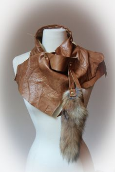 Cognac leather scarf with fox tail by Winisha on Etsy, $290.00