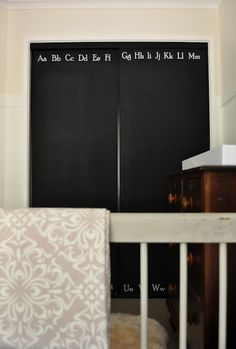 chalkboard closet doors--the painted hive