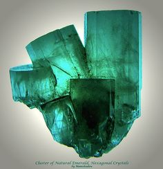 Cluster of Natural Emerald, Hexagonal Crystals by Moonshadow-, via Flickr.  It's tough to find translucent to clear emerald.  Gorgeous specimen.