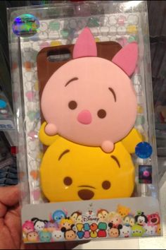 Disney Tsum tsum Style Silicone Soft Back Full Piglet and pooh bear Case Cover for iPhone 5 4 6 samsung