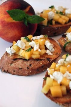 Peach, Honey, and Goat Cheese Bruschetta tried this and it is to DIE FOR!!!!!! gotta try it