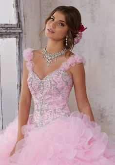 Jeweled Beading on a Ruffled Petal Organza Ballgown | Vizcaya Style 89137 | Made From Ruffled Petal Organza this Quinceañera Ballgown Features a Sweetheart Bodice with Jeweled Beading and Removable Floral Straps. Corset Back. Matching Stole