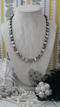 Satin Haze has 35 Superior Sparkling Genuine Swarovski Crystals in a Fabulously Versatile mix of Brilliant Crystal, Twinkling Silver Shade, Glowing Grey opal, Smooth Crystal Satin and Grey Opal Satin