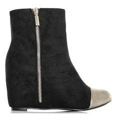 Botki - Czarne Zamszowe Koturny Srebrny Nosek - www.BUU.pl #black #shoes #style