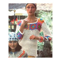 Crochet Top Pattern Vintage Granny Square by DigitalPatternShop