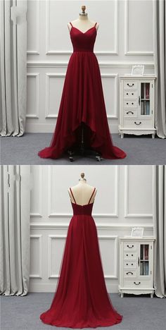 A Line High Low Backless Burgundy Tulle Long Prom Dresses, High Low Burgundy Formal Dresses, Backless Burgundy Evening Dresses Prom Dress With Train, Tulle Prom Dress, The Dress, Burgundy Formal Dress, Burgundy Evening Dress, Prom Dresses Online, Cheap Prom Dresses, Formal Dresses, Dance Dresses