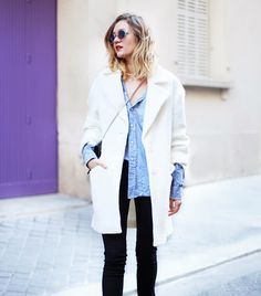 @Who What Wear - Anne-Laure of Adenorah  On Laure: COTR x Pimkie coat, Maison Standards blouse, Diesel Skinzee pants, and H&M heels