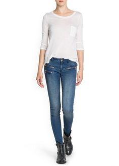 Jeans super slim cremalleras